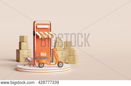 Podium And Orange Mobile Phone Or Smartphone With Store Front,scooter,goods Box,shopping Cart Isolat