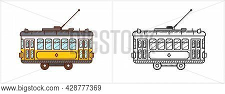Tram Coloring Page For Kids. Tram Side View