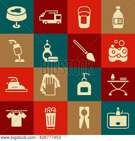 Set Washbasin, Iron And Ironing Board, Sponge, Bucket With Rag, Dishwashing Liquid Bottle, Vacuum Cl