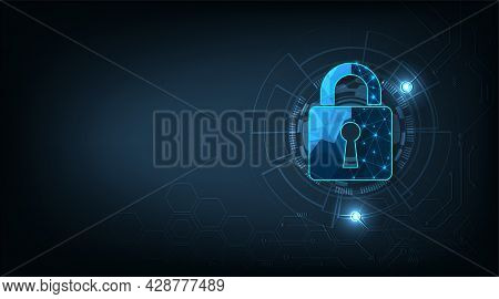 Internet Security Concept.security Padlock Lock  Icon On Dark Blue Background.technology For Online