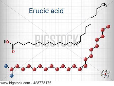 Erucic Acid, Docosenoic Acid Molecule. It Is Carboxylic, Monounsaturated Omega-9 Fatty Acid. Structu