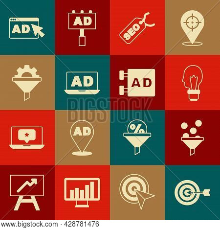 Set Target, Lead Management, Light Bulb With Concept Of Idea, Seo Optimization, Advertising, Sales F
