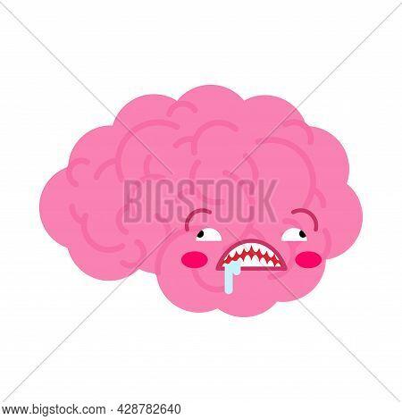 Crazy Brain Cartoon Isolated. Brains Vector Illustration