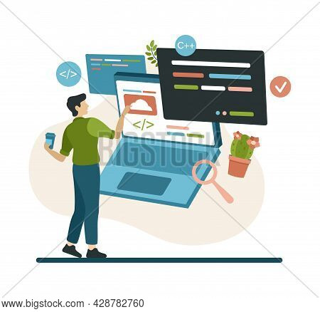 Programmer Works With Program Code And Cloud Service. Man With Coffee In Hand Is Setting Up And Chec