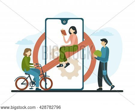 Outdoor Games In Nature Without Online Devices. Red Round Sign With Crossed Out Line On Smartphone.
