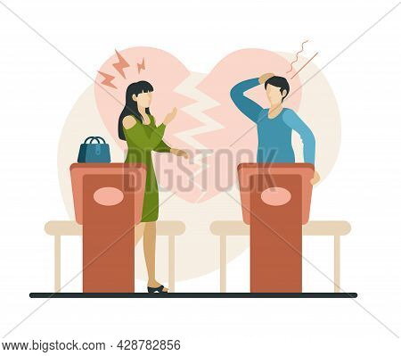 Family Divorce In Court. Female And Male Characters Fight And Sort Out Their Attitude In Courtroom.