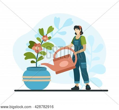 Professional Home Plant Care. Female Character With Watering Indoor Flower In Vase. Florist Grows Be