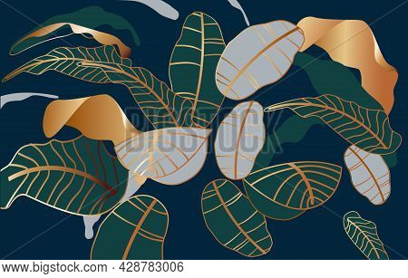 Luxury Golden Art Deco Wallpaper. Beautiful Natural Green, Gold And Blue Leave With Golden Outline A