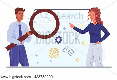 Information Search Concept. Businessman And Woman Enter Search Query Together In The Field. Find Imp