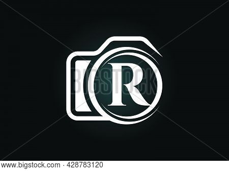Initial R Monogram Letter Alphabet With A Camera Icon. Photography Logo Vector Illustration. Modern