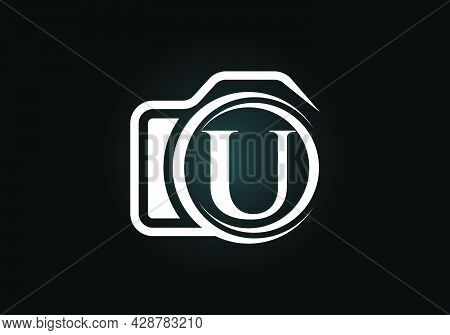 Initial U Monogram Letter Alphabet With A Camera Icon. Photography Logo Vector Illustration. Modern