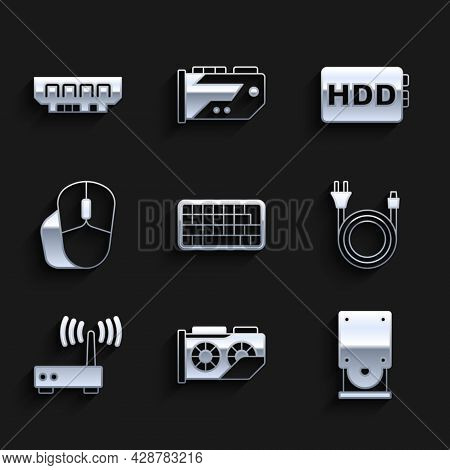 Set Keyboard, Video Graphic Card, Optical Disc Drive, Electric Plug, Router And Wi-fi Signal, Comput