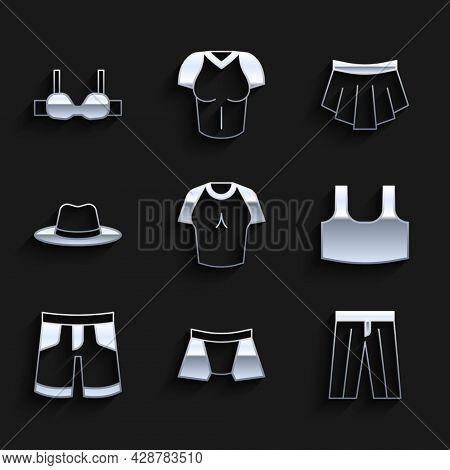 Set T-shirt, Men Underpants, Pants, Undershirt, Short Or, Man Hat, Skirt And Bra Icon. Vector