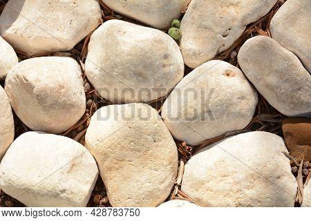 The Pebble Stone Floors And Wall, Background Textures. White Granite Stone Walk Way Granite Stone Pa