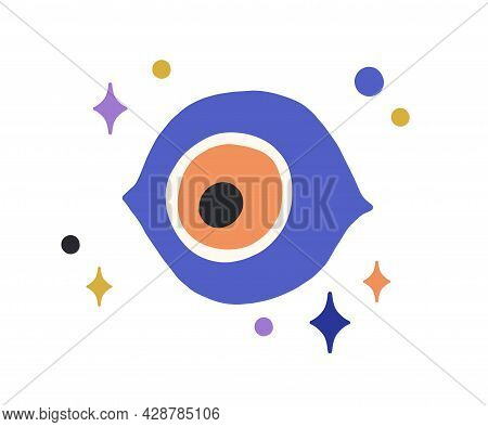 Turkish God Eye Looking Down From Heavens With Stars. Magic Esoteric Evil Eyeball Watching. Abstract