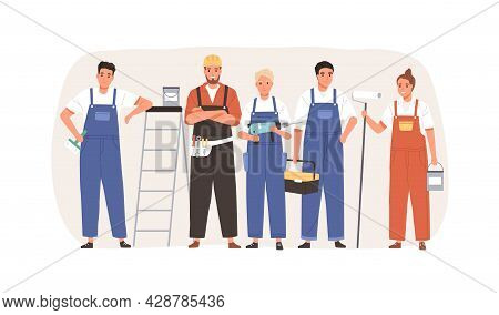 Team Of Workers With Tools And Equipment For Home Repair. Group Of Builders, Repairman, Masters And
