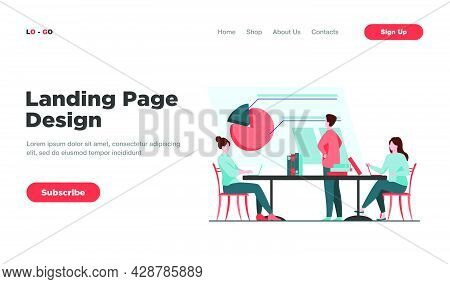 Analysts Working Together And Discussing Chart. Company, Employee, Table Flat Vector Illustration. T