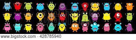 Monster Super Big Icon Set. Happy Halloween. Funny Head Face Colorful Silhouette. Cute Cartoon Kawai