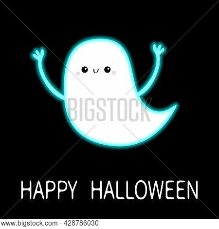 Happy Halloween. Flying Ghost Spirit With Hands. Scary White Glowing Ghosts. Neon Blue Effect. Cute