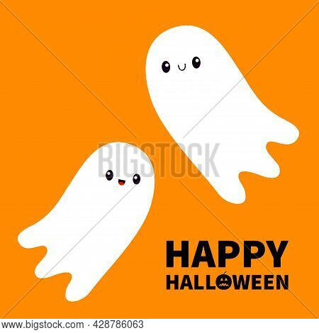 Happy Halloween. Two Flying Ghost Spirit Set. Scary White Ghosts Family. Cute Cartoon Spooky Charact