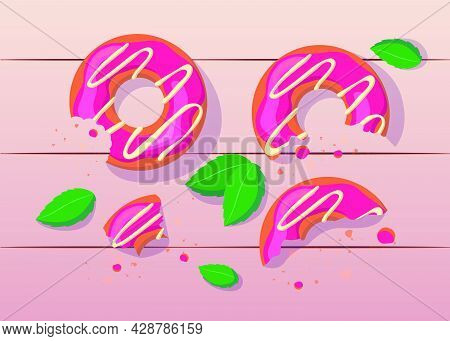 Bitten And Half Eaten Pink Donuts With White Icing Illustration. Colorful Sweet Doughnuts On Table W