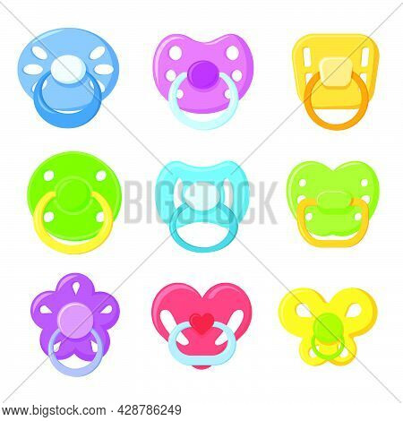 Bright Children Pacifiers Flat Pictures Set. Cartoon Colorful Plastic Nipple Or Sucker For Little Ch
