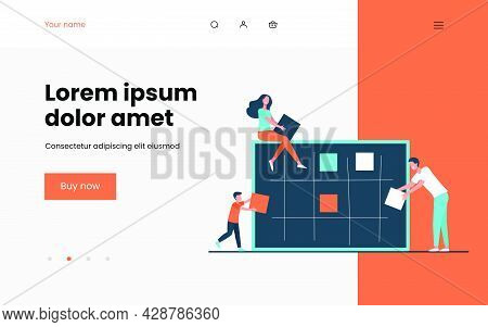 Business Team Planning Tasks. Managers Sticking Paper Notes On Board Flat Vector Illustration. Teamw