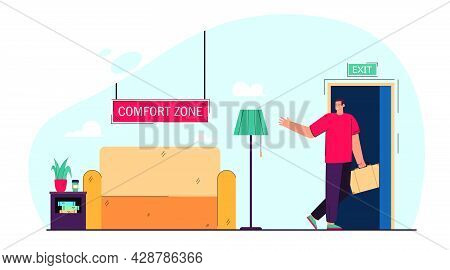 Businessman Leaving Comfort Zone Flat Vector Illustration. Office Worker On Way Of Changing Lifestyl