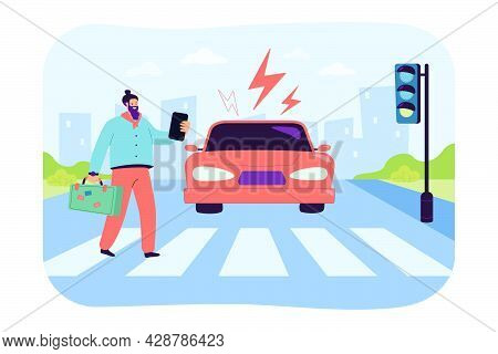 Careless Pedestrian Looking At Phone At Crosswalk. Car Driving Towards Man Crossing Zebra On Green T