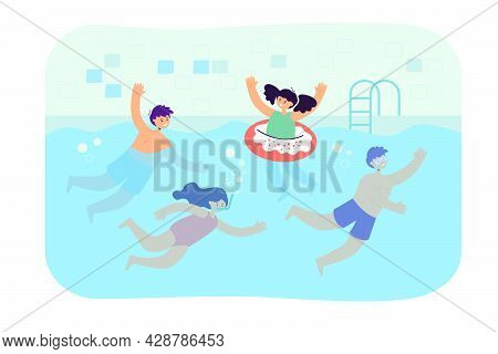 Cartoon Children Swimming In Pool. Flat Vector Illustration. Happy Boys And Girls In Swimwear Playin