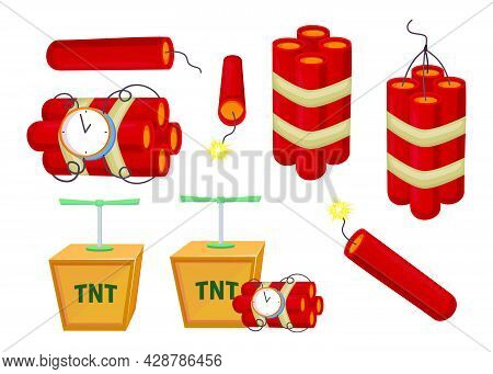 Cartoon Colorful Dynamite Set Vector Illustration. Tnt Explosives With Detonators And Alarm Timer Is