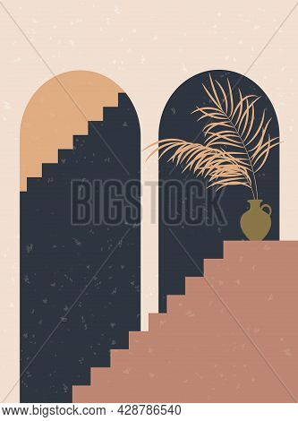 Abstract Contemporary Background With Arch, Stairs, Palm Leaf. Old City Boho Design For Posters, Pos