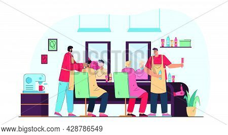 Cartoon Men Getting Their Hair Cut In Barbershop. Flat Vector Illustration. Clients Sitting In Front