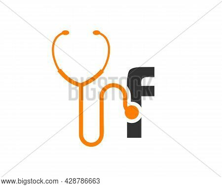Health Care Logo With F Letter Concept. Stethoscope Logo F Letter Concept. Phonendoscope Logotype