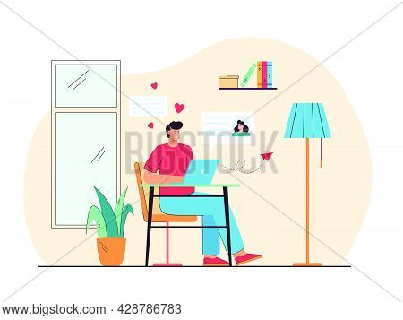 Cheerful Man Dating With Woman Online Flat Vector Illustration. Cartoon Happy Guy Sending Message To