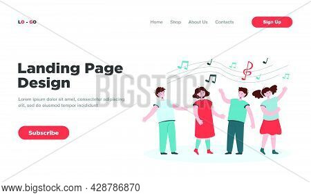 Children Singing Songs. Choir Of Boys And Girls In Church Or Vocal Group In Music School. Vector Ill