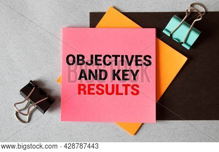 Objective Key Results Wood Letters Arraanged On Wood Background