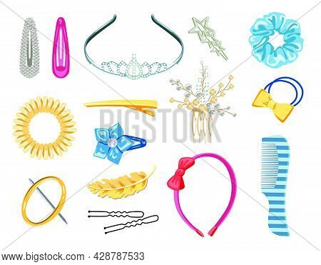 Collection Of Women Hair Accessories Vector Illustrations Set. Elastic Hair Bands And Clips, Plastic