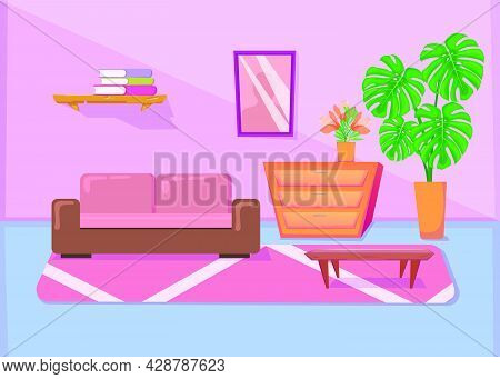 Colorful Living Room Interior With Sofa And Other Furniture. Cartoon Vector Illustration. Coffee Tab