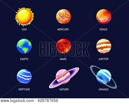 Colorful Planets Of Solar System Flat Pictures Set For Web Design. Cartoon Jupiter, Mars, Venus, Ear