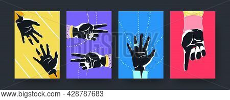 Colorful Set Of Contemporary Art Posters With Hands Silhouettes. Vector Illustration. .collection Of
