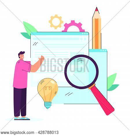 Creator Publishing New Digital Content. Man Holding Web Page, Adding Information On Website Flat Vec