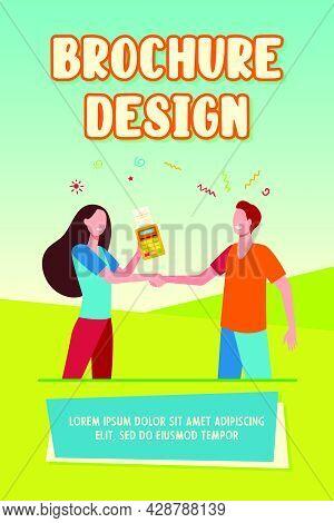 Customer And Seller Shaking Hands. Pos Terminal, Payment, Transaction Flat Vector Illustration. Buyi