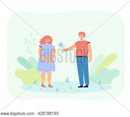 Cute Boy Giving Flower To Girl. Cartoon Boyfriend And Girlfriend On Date Flat Vector Illustration. F