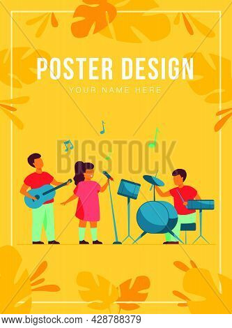 Cute Young Musicians At School Music Festival Flat Vector Illustration. Cartoon Children Playing Mus