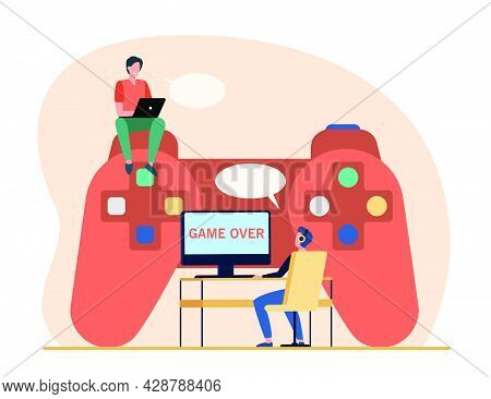 Cyber Sport Competitors. Tiny Gamers Playing Online Game At Huge Controller. Flat Vector Illustratio