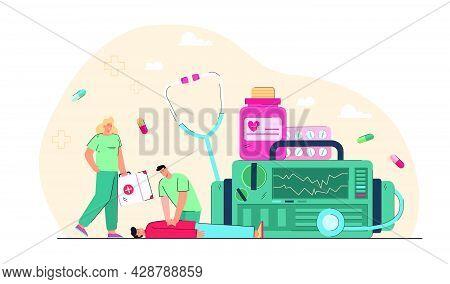 Emergency Cardiopulmonary Resuscitation. Flat Vector Illustration. Tiny Medics With Giant Medical Eq
