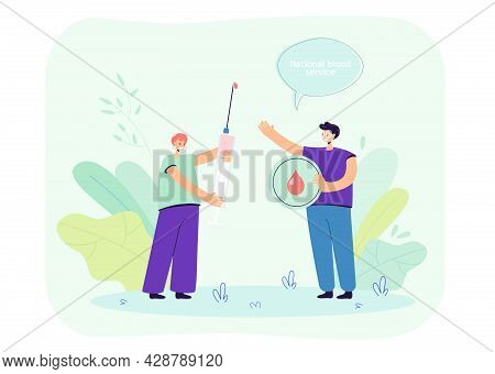 Female Blood Donors Holding Syringe With Blood. Friends Donating Blood Flat Vector Illustration. Don