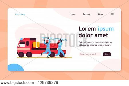 Firefighters Rushing To Rescue. Firemen Running From Vehicle, Carrying Ladder Flat Vector Illustrati