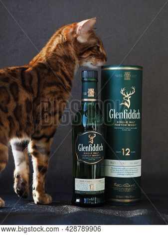 Green Bottle Of 12-year-old Glenfiddich Next To The Gift Box (tube).